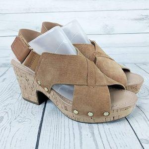 Franco Sarto Suede Kicks Platform Sandals 7.5